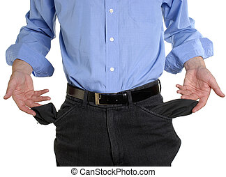 Broke - Conceptual shot of business man with empty pockets ...