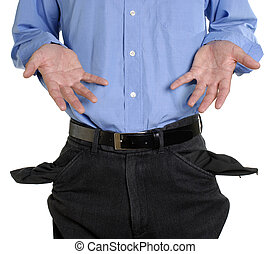 Conceptual shot of business man with empty pockets in tough economic times