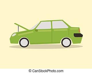 Broke down car cartoon vector illustration