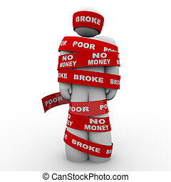 Broke Poor Person Wrapped in Tape Trapped in Debt - A person...