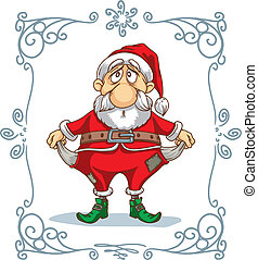 Broke Santa Cartoon - Vector cartoon - hand drawn caricature...