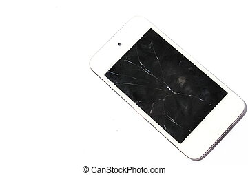 Broke Smart Phone - Isolated white smart phone with cracked,...