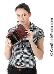 Broke - Young caucasian woman with wmpty wallet - broke