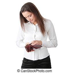 Broke - Young caucasian woman with empty wallet - broke