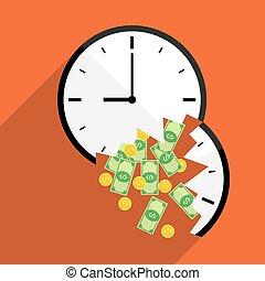 broke time waste money illustration
