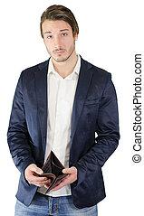 Broke young man showing empty wallet - Pennyless, broke...