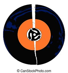 A typical broken 45 rpm vinyl record with an orange blank labell over a white background