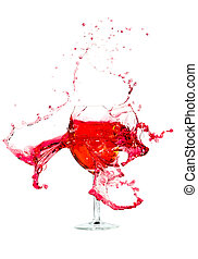 Broken a glass wine - Broken a glass with wine on a white...