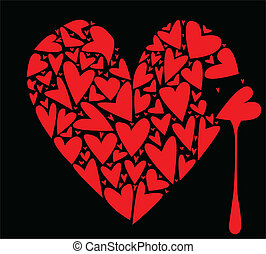 Broken - A large heart made up of several smaller hearts...