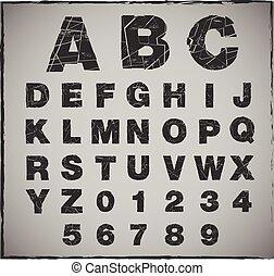broken alphabet with grunge texture set