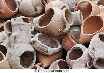 Broken amphoras - Stack of different kind of decorative...