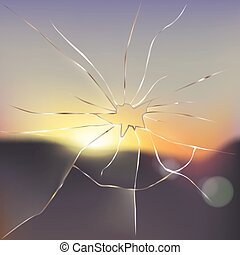 Broken and cracked window glass realistic vector - Broken...