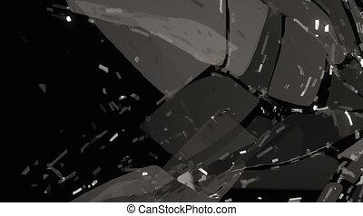 Broken and damaged glass slow motion. Alpha matte