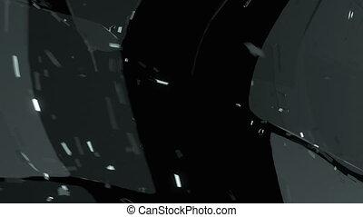 Broken and damaged glass slow motion Alpha matte