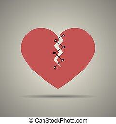 Broken and stitched heart icon