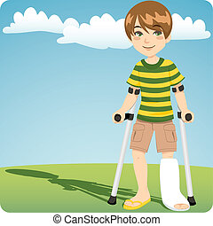 Broken Ankle - Young boy with cast broken ankle walking...