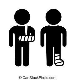 Broken Arm and Leg Icons Set. Vector illustration