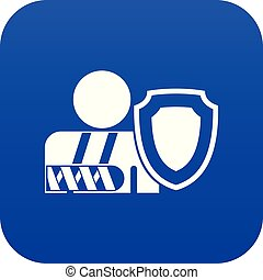 oken arm and safety shield icon digital blue