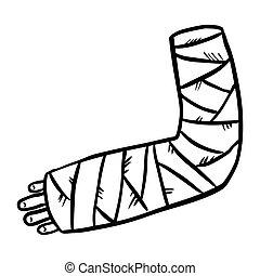 Broken arm cast doodle. Injured limb in gypsum plaster. ...