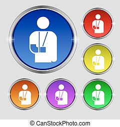 broken arm, disability icon sign. Round symbol on bright colourful buttons. Vector