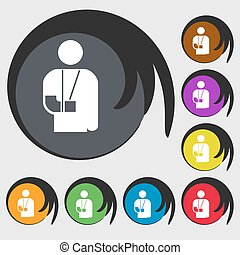 broken arm, disability icon sign. Symbol on eight colored buttons. Vector