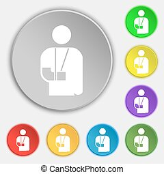 broken arm, disability icon sign. Symbol on five flat buttons. Vector