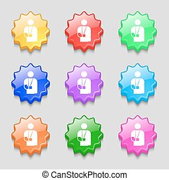 broken arm, disability icon sign. symbol on nine wavy colourful buttons. Vector