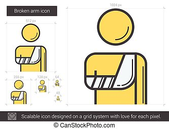 Broken arm line icon. - Broken arm vector line icon isolated...
