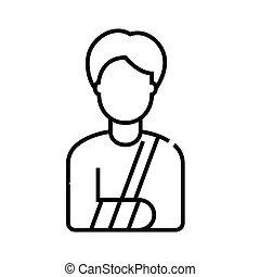 Broken arm line icon, concept sign, outline vector illustration, linear symbol.