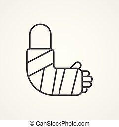 broken arm vector icon sign symbol