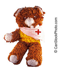 Broken armed teddy bear - Broken armed Teddy bear isolated...