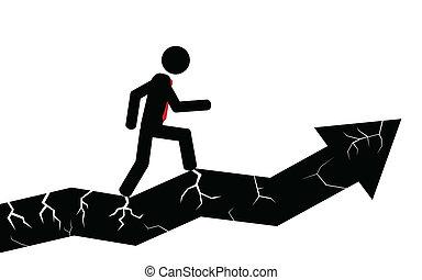 Broken arrow man. A silhouette stick man holding onto a ...