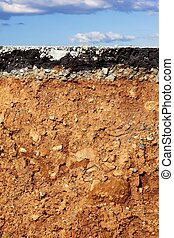 asphalt road excavation earthquake cross section - broken...
