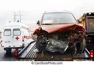 broken automobile - Evacuation of the broken automobile in...
