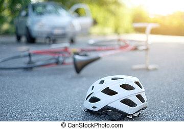 Broken bicycle on the asphalt after incident