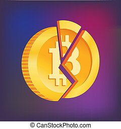 broken bitcoin. Blockchain and crypto currency crisis. - ...