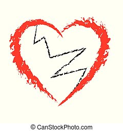 Broken Heart icon with brush painting isolated on white background, heartbreak Vector and illustration