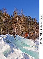 Broken blocks of ice on the river