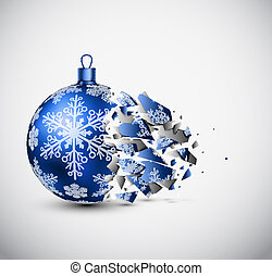 Broken blue Christmas ball