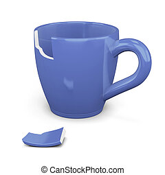 Broken blue cup isolated on white background. 3d rendering