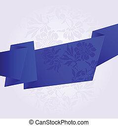broken blue stripe - broad blue broken band with flowers on...