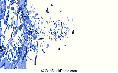 Broken blue wall isolated on white background. 3d illustration