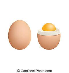 Broken Boiled Egg Isolated on White Background. Vector