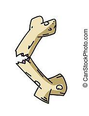 Broken bone cartoon hand drawn image