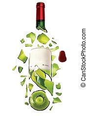 Broken bottle - A shattered, broken bottle of wine isolated...