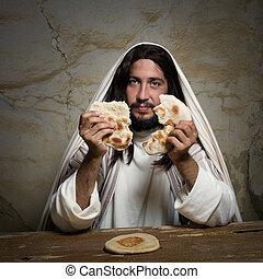 Broken bread at Last Supper