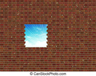 Broken brick wall and sky