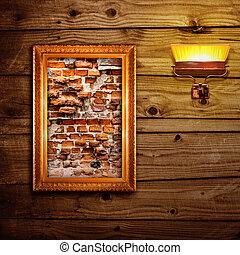 Broken brick wall exposition