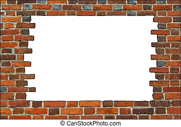 broken brick wall on the white background