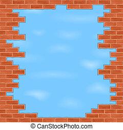 Broken brick wall with blue sky
